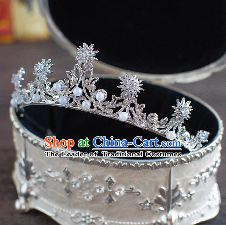 Handmade Classical Hair Accessories Bride Baroque Crystal Royal Crown Headwear for Women