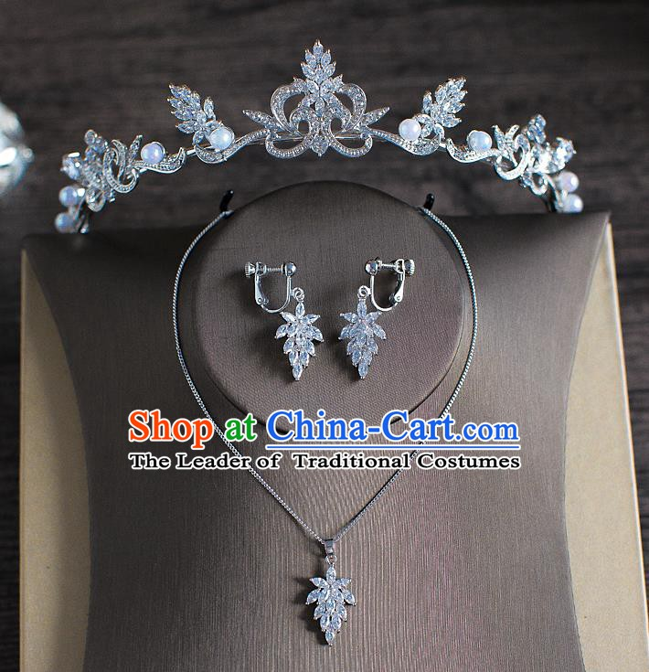Handmade Classical Hair Accessories Bride Baroque Crystal Royal Crown and Necklace Earrings for Women