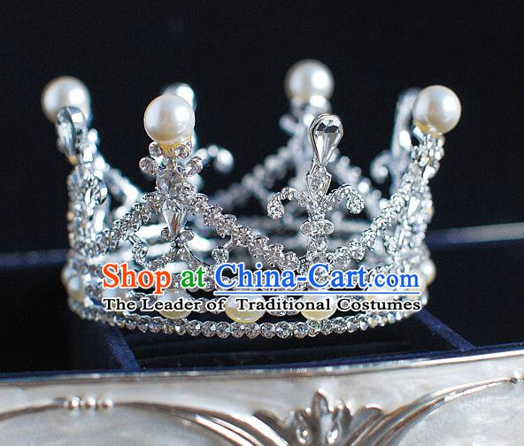 Handmade Classical Hair Accessories Bride Baroque Crystal Round Royal Crown Coronet for Women