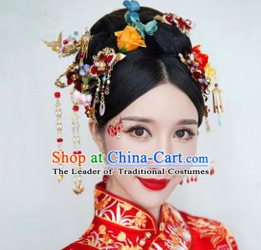 Chinese Handmade Classical Hair Accessories Ancient Bride Hair Stick Hairpins Complete Set for Women