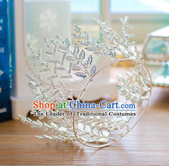 Handmade Classical Hair Accessories Baroque Crystal Leaf Round Royal Crown Princess Coronet for Women