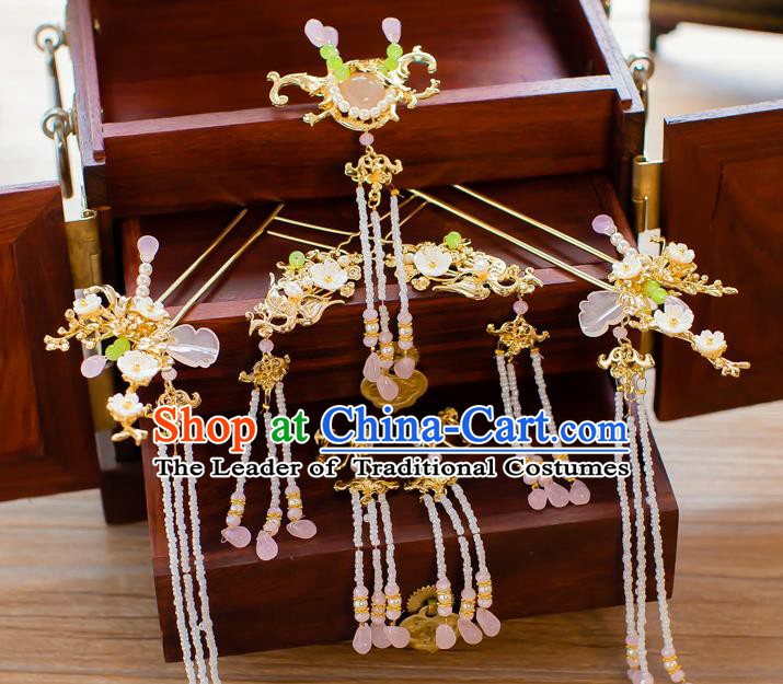 Chinese Handmade Classical Hair Accessories Ancient Bride Beads Tassel Hairpins Complete Set for Women
