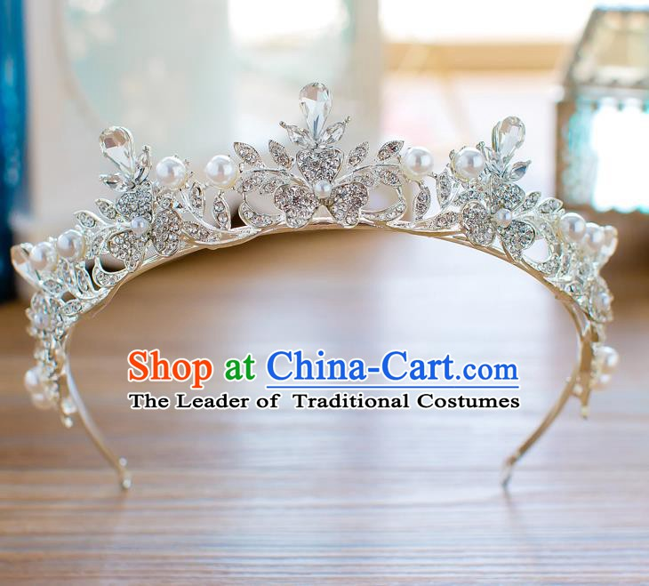 Handmade Classical Hair Accessories Baroque Crystal Royal Crown Princess Zircon Coronet for Women
