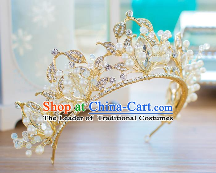 Handmade Classical Hair Accessories Baroque Crystal Golden Royal Crown Princess Coronet for Women