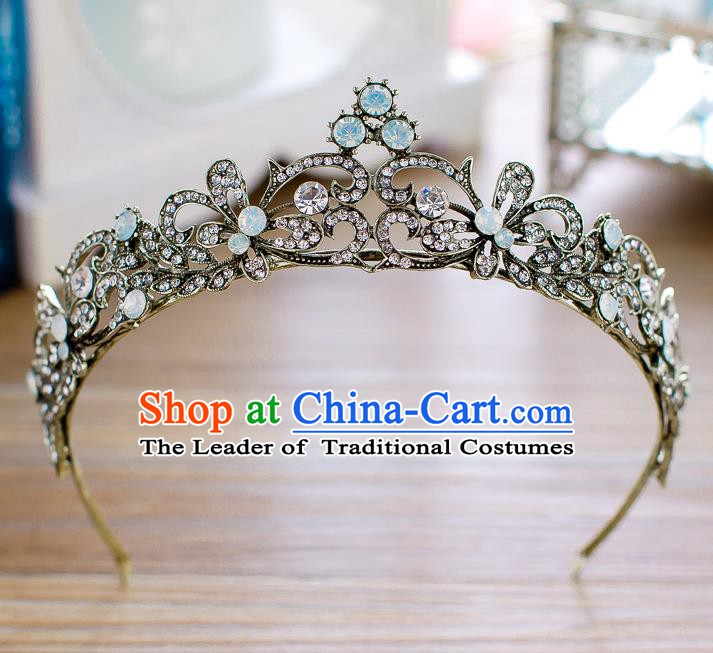 Handmade Classical Hair Accessories Baroque Crystal Butterfly Royal Crown Princess Black Hair Clasp for Women