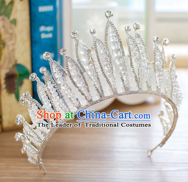 Handmade Classical Hair Accessories Baroque Crystal Beads Royal Crown Princess Hair Clasp for Women
