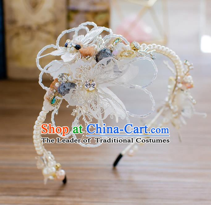 Handmade Classical Wedding Hair Accessories Bride Headwear Butterfly Pearls Hair Clasp for Women
