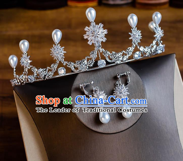 Handmade Classical Wedding Hair Accessories Bride Baroque Crystal Snowflake Royal Crown Hair Clasp for Women