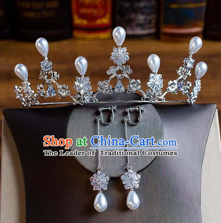 Handmade Classical Wedding Hair Accessories Bride Baroque Crystal Pearls Royal Crown Hair Clasp for Women