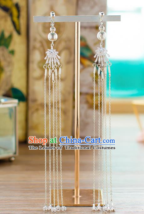 Handmade Classical Wedding Accessories Bride Crystal Beads Tassel Earrings for Women