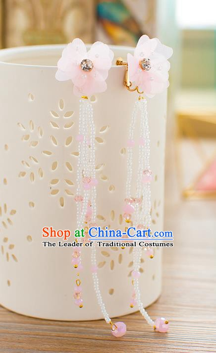 Handmade Classical Wedding Accessories Bride Pink Beads Tassel Earrings for Women