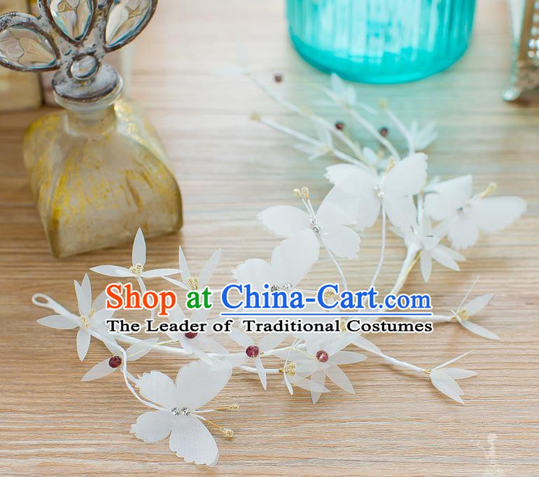 Handmade Classical Wedding Hair Accessories Bride Hair Stick White Butterfly Hair Clasp for Women