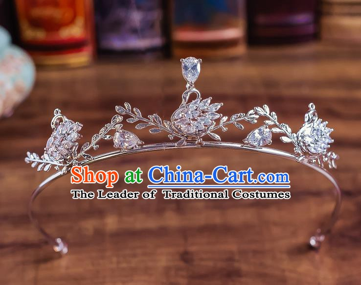 Handmade Classical Wedding Hair Accessories Bride Baroque Crystal Swan Royal Crown for Women