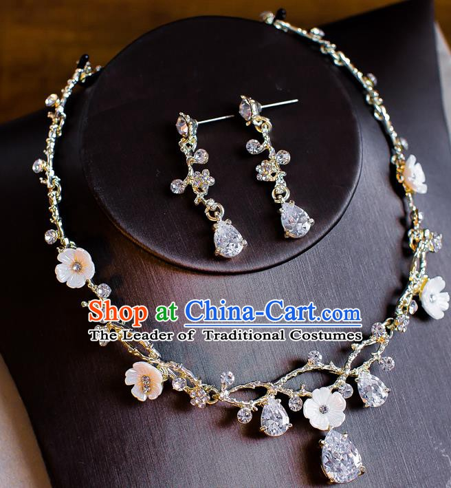 Handmade Classical Wedding Accessories Bride Crystal Necklace and Earrings for Women