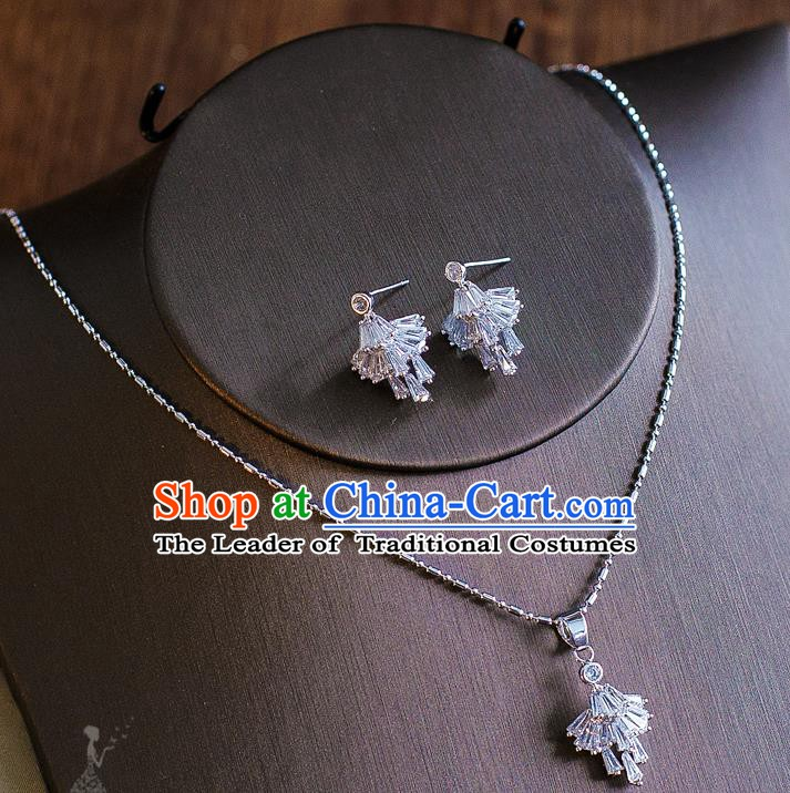 Handmade Classical Wedding Accessories Bride Crystal Zircon Necklace and Earrings for Women