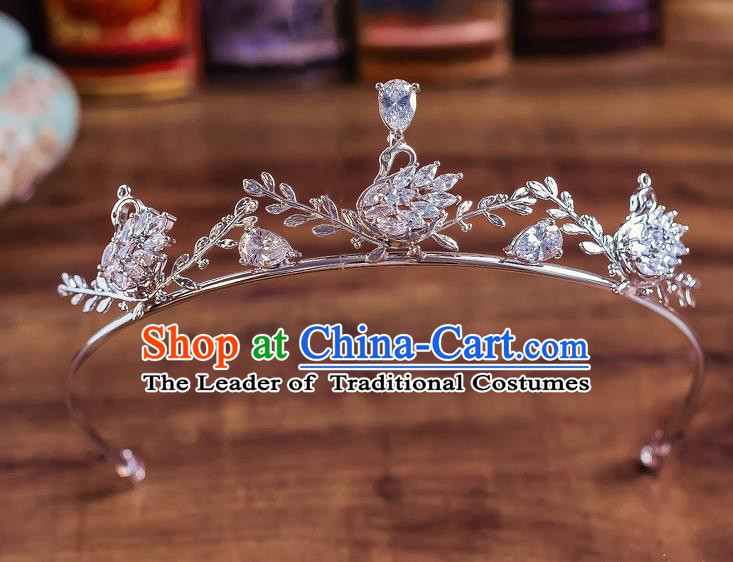 Handmade Classical Hair Accessories Bride Baroque Crystal Swan Royal Crown Headwear for Women