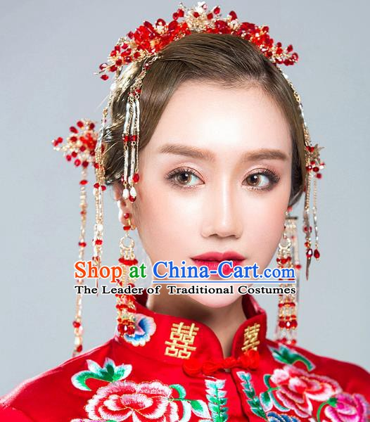 Chinese Handmade Classical Hair Accessories Ancient Red Crystal Hair Clasp Tassel Hairpins for Women