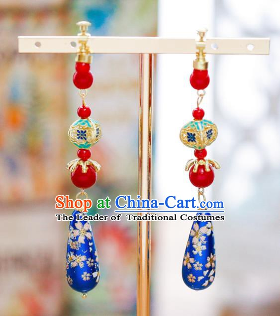 Handmade Classical Wedding Accessories Bride Hanfu Cloisonne Earrings for Women