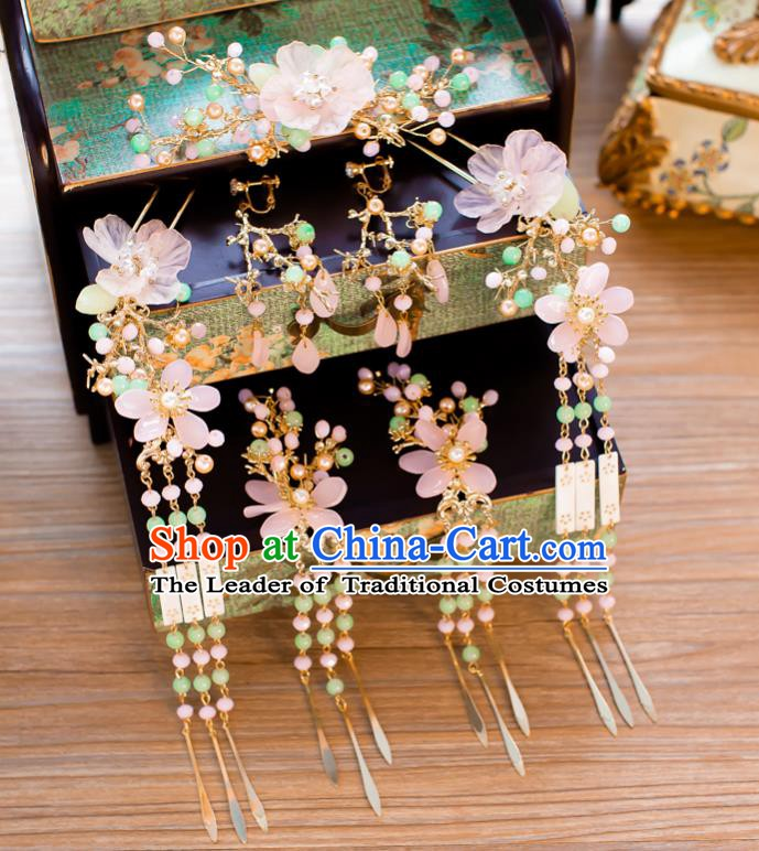 Chinese Handmade Classical Hair Accessories Ancient Pink Flowers Hair Clip Tassel Hairpins for Women