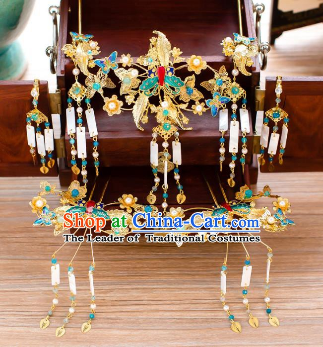 Chinese Handmade Classical Hair Accessories Ancient Blue Butterfly Phoenix Coronet Tassel Hairpins for Women