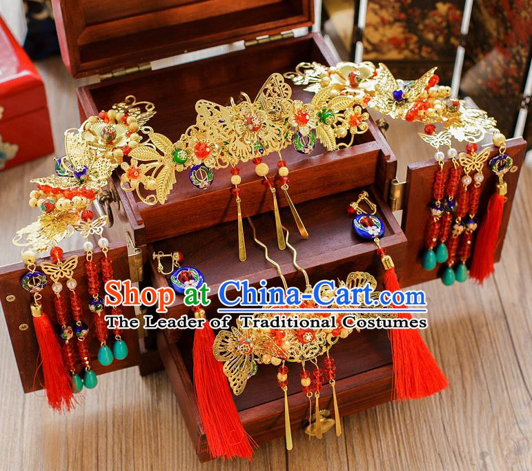 Chinese Handmade Classical Hair Accessories Ancient Butterfly Phoenix Coronet Tassel Hairpins for Women