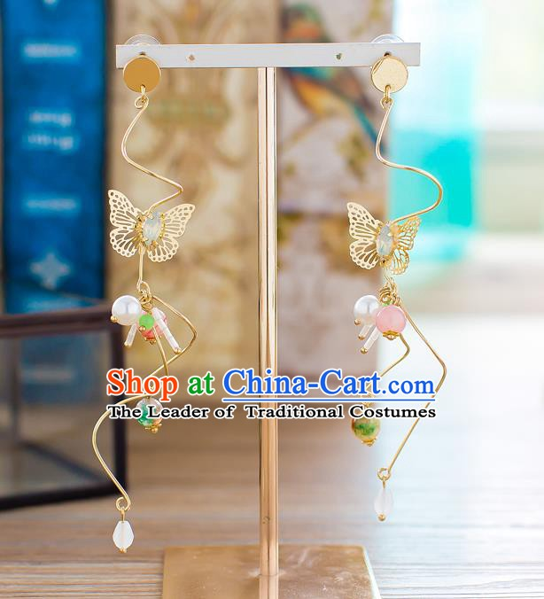 Handmade Classical Wedding Accessories Bride Earrings Hanfu Butterfly Eardrop for Women