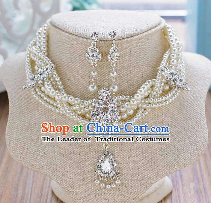 Handmade Classical Wedding Accessories Bride Pearls Necklace and Crystal Earrings for Women