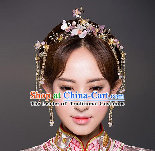 Chinese Handmade Classical Hair Accessories Ancient Bride Pink  Hair Clasp Tassel Hairpins for Women