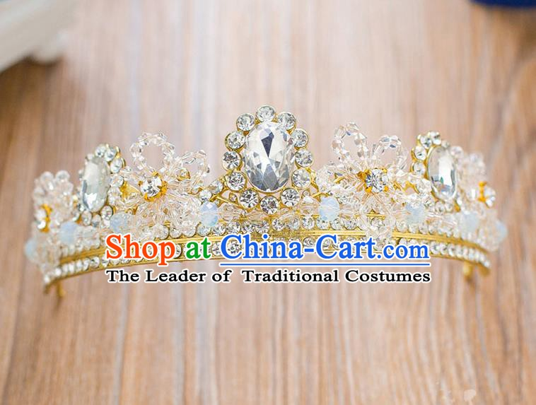 Handmade Classical Hair Accessories Baroque Luxury Crystal Hair Clasp Royal Crown Headwear for Women