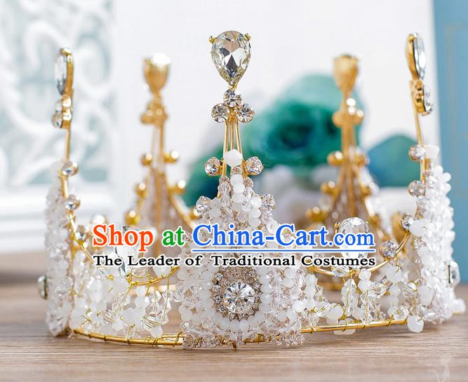 Handmade Classical Hair Accessories Baroque Queen Crystal Round Royal Crown Headwear for Women
