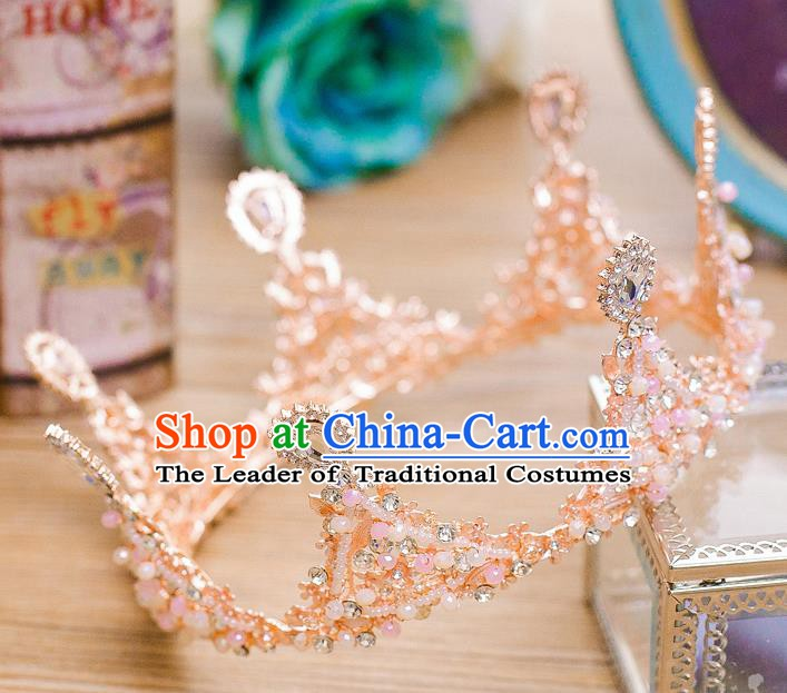 Handmade Classical Hair Accessories Baroque Pink Round Crystal Royal Crown Headwear for Women