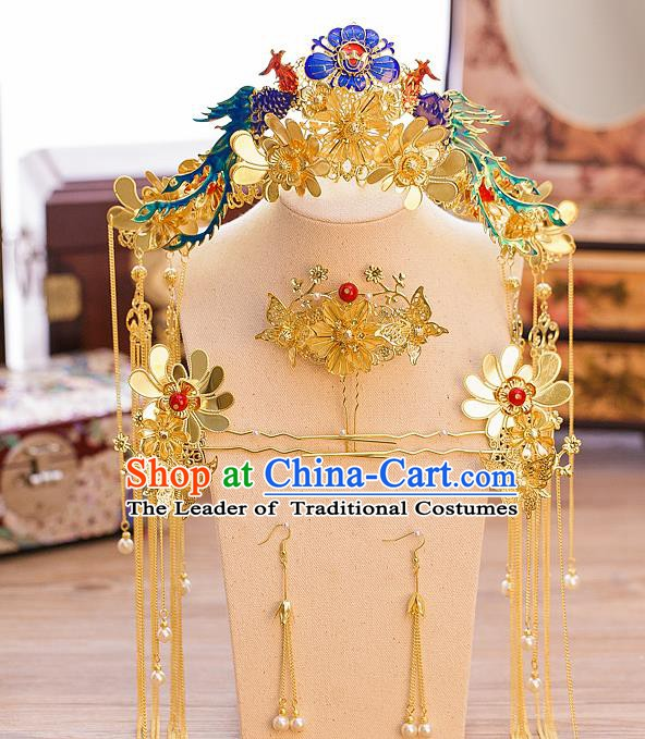 Chinese Handmade Classical Hair Accessories Ancient Cloisonne Phoenix Coronet Tassel Hairpins for Women