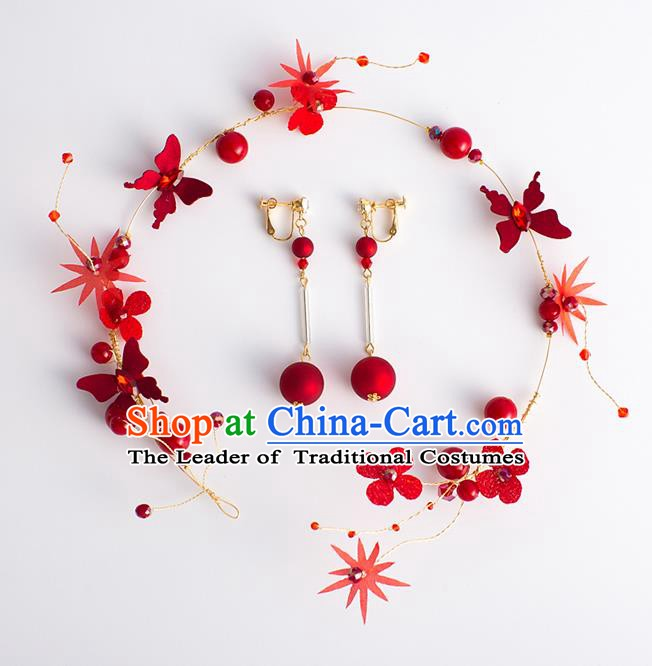 Handmade Classical Wedding Hair Accessories Bride Red Butterfly Hair Clasp and Earrings for Women