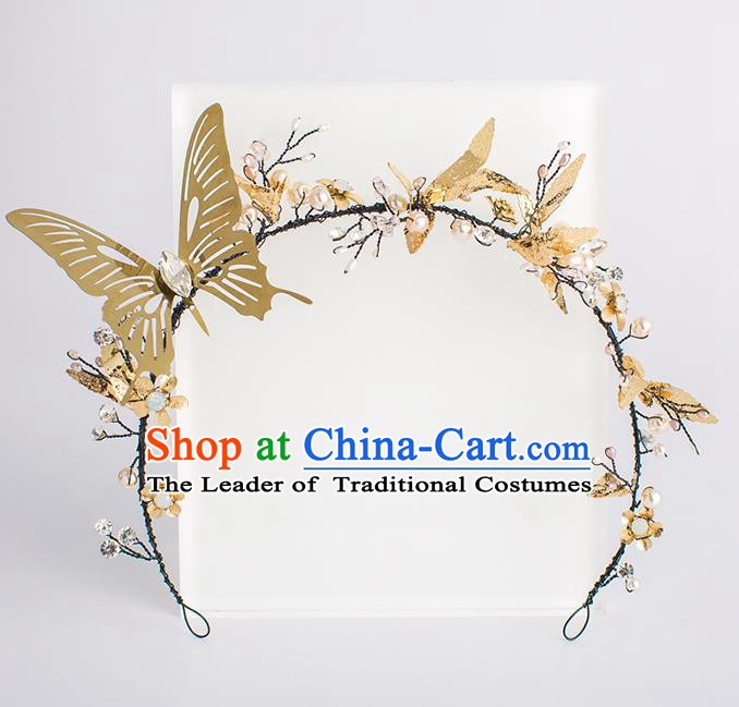 Handmade Classical Wedding Hair Accessories Bride Golden Butterfly Hair Clasp Headwear for Women