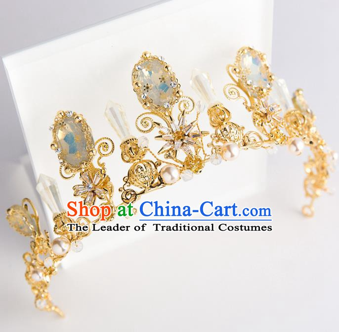 Handmade Classical Hair Accessories Baroque Bride Crystal Golden Royal Crown Headwear for Women