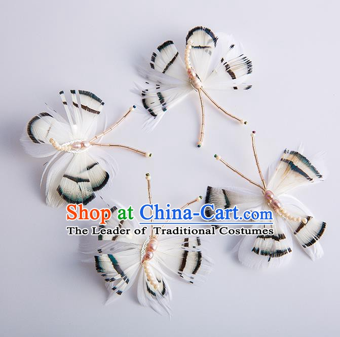Handmade Classical Wedding Hair Accessories Bride Feather Butterfly Hair Claw Headwear for Women
