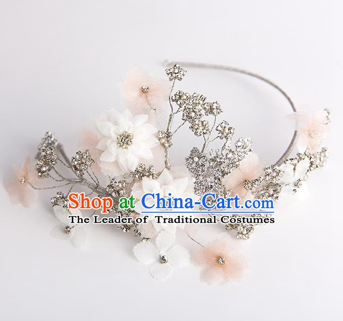 Handmade Classical Wedding Hair Accessories Bride Crystal Flowers Hair Clasp Headwear for Women