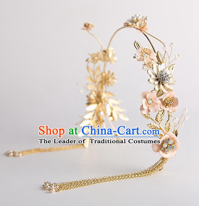 Handmade Classical Wedding Hair Accessories Bride Golden Flowers Tassel Hair Clasp Headwear for Women