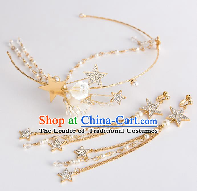 Handmade Classical Wedding Hair Accessories Bride Golden Stars Hair Clasp and Earrings Headwear for Women