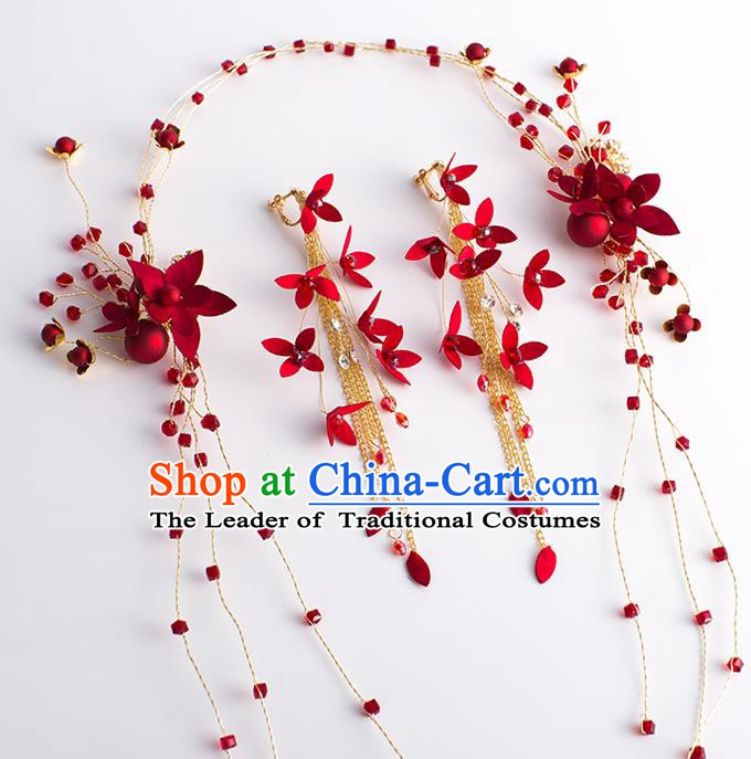 Handmade Classical Wedding Hair Accessories Bride Red Flower Hair Clasp Headwear for Women