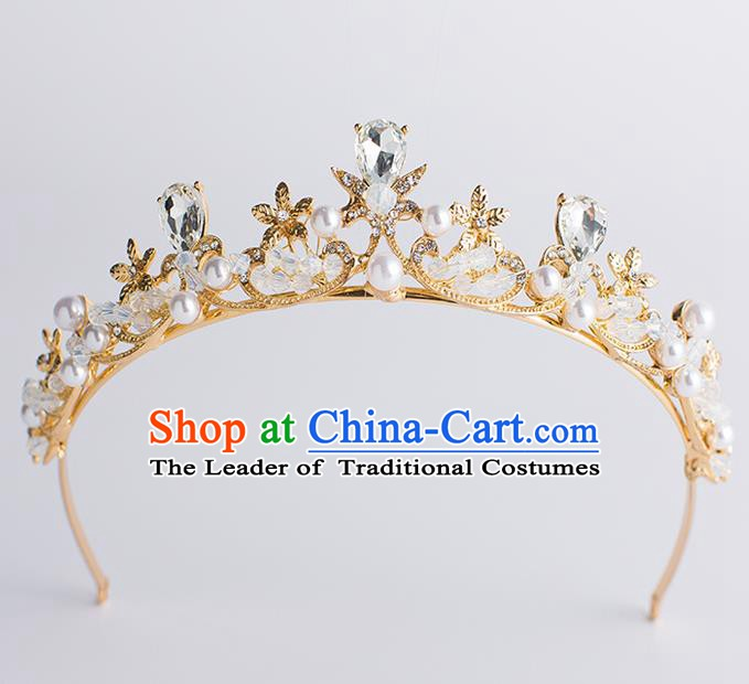 Handmade Classical Hair Accessories Baroque Bride Crystal Pearls Golden Royal Crown Headwear for Women