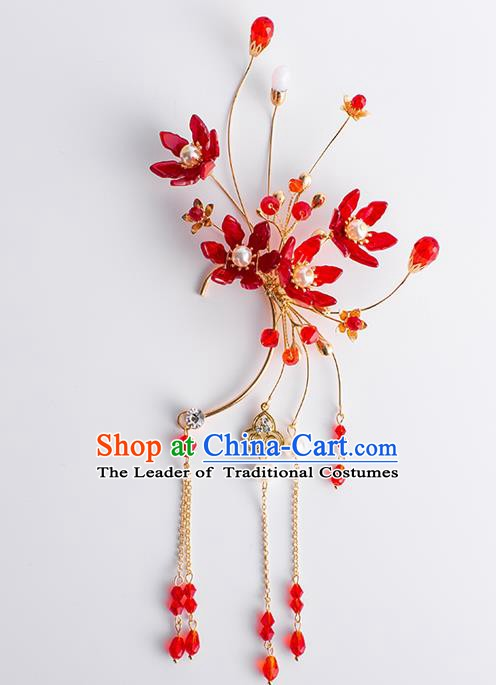 Handmade Classical Wedding Accessories Earrings Baroque Bride Red Beads Tassel Ear Pendant for Women