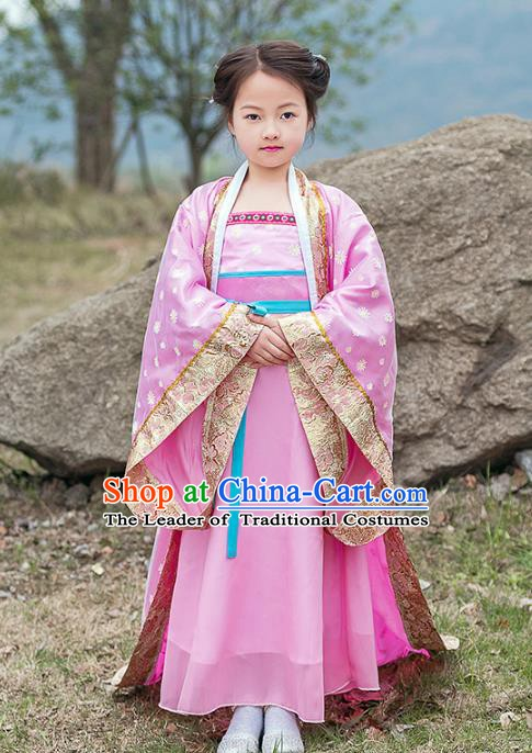 Traditional China Tang Dynasty Ancient Imperial Concubine Embroidered Costume for Kids