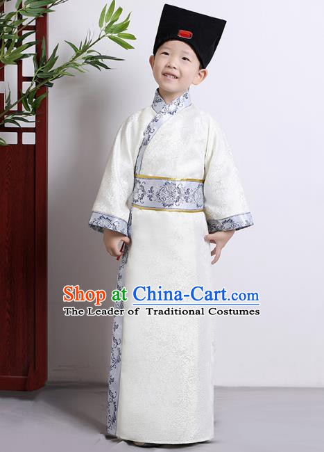 Traditional China Han Dynasty Minister White Costume, Chinese Ancient Chancellor Hanfu Clothing for Kids