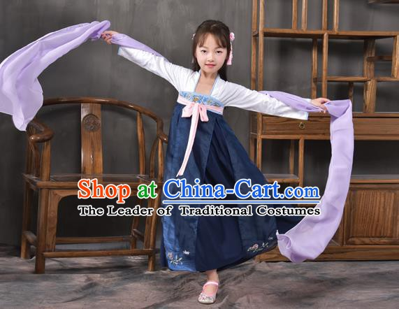 Traditional China Tang Dynasty Princess Navy Costume, Chinese Ancient Palace Lady Hanfu Clothing for Kids