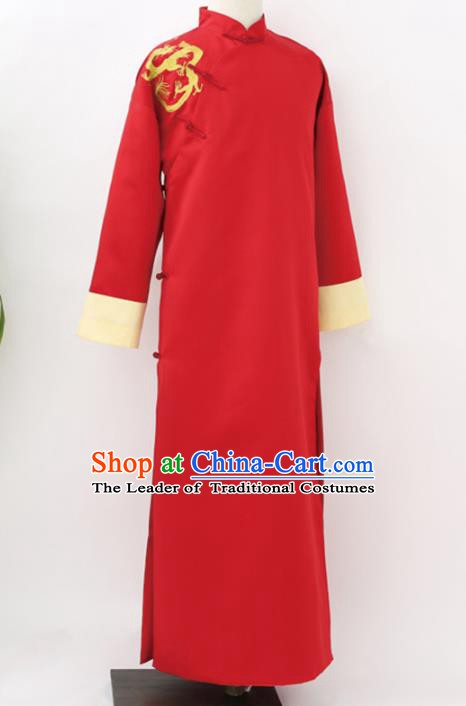 Traditional Republic of China Nobility Childe Costume, Chinese Cross Talke Clothing Red Long Robe for Men