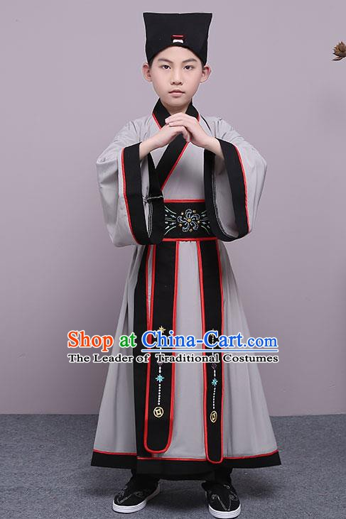 Traditional China Han Dynasty Minister Costume, Chinese Ancient Scholar Hanfu Grey Robe Clothing for Kids