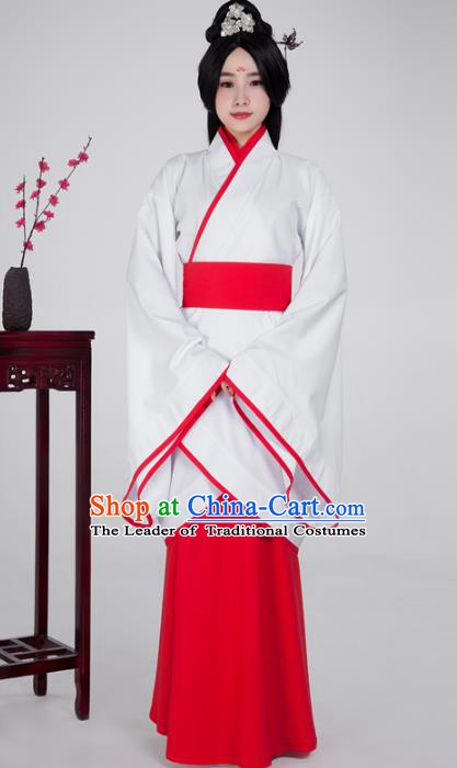 Traditional China Han Dynasty Princess Costume White Curving-front Robe, Chinese Ancient Palace Lady Hanfu Clothing for Women