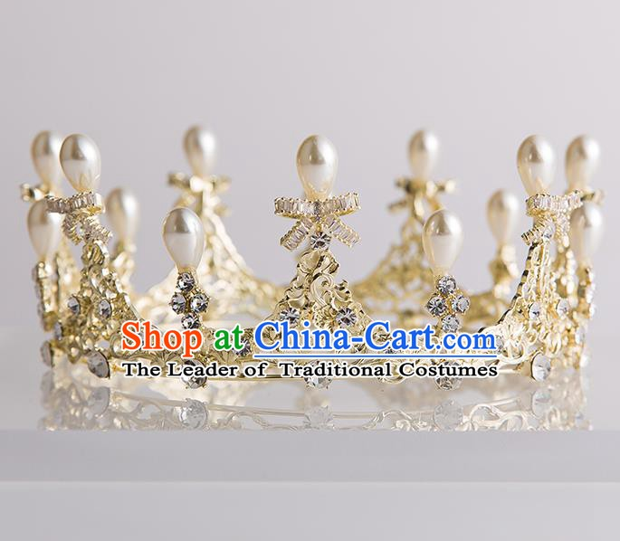 Handmade Classical Hair Accessories Baroque Bride Crystal Bowknot Royal Crown Headwear for Women