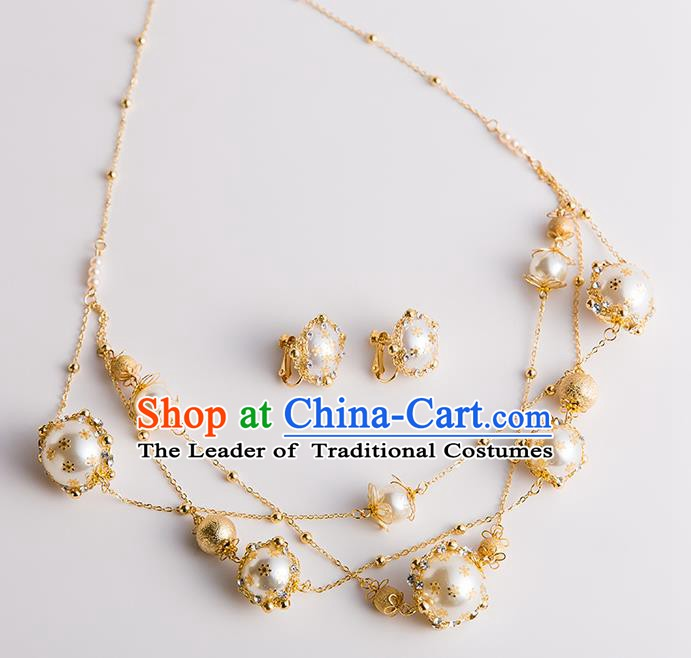 Handmade Classical Wedding Hair Accessories Bride Pearls Hair Clasp Headwear for Women